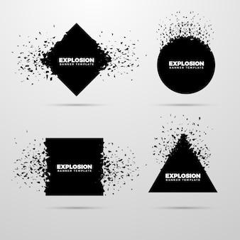 Conjunto de banner geométrico de explosão