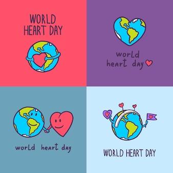Conjunto de banner global de dia do coração