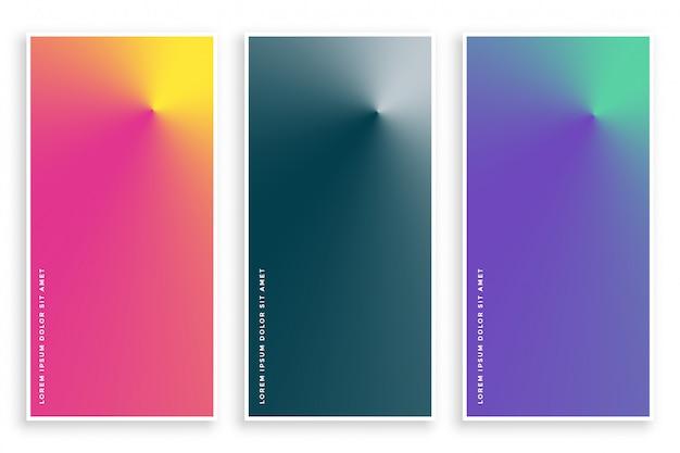 Conjunto de banner gradiente cônico abstrata