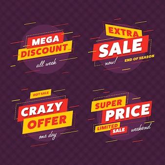 Conjunto de banner grande venda, oferta de desconto mega super preço