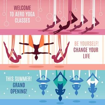 Conjunto de banner horizontal aero yoga