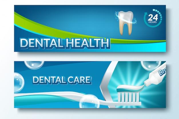 Conjunto de banner horizontal de cuidados dentários