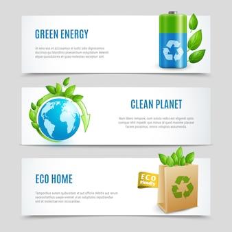 Conjunto de banner horizontal de ecologia em papel design