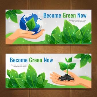 Conjunto de banner horizontal de ecologia