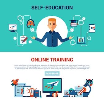 Conjunto de banner horizontal de educação on-line