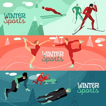 Conjunto de banner horizontal de esportes de inverno