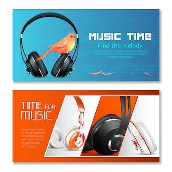Conjunto de banner horizontal de fones de ouvido realista