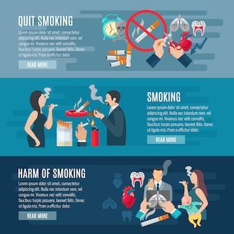 Conjunto de banner horizontal de fumar