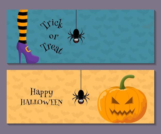 Conjunto de banner horizontal de halloween dos desenhos animados