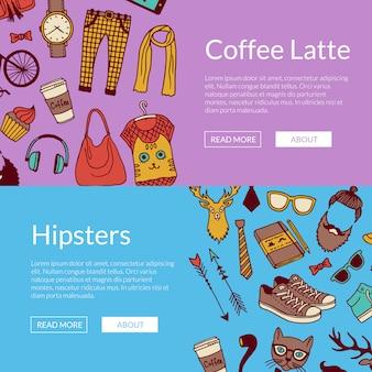 Conjunto de banner horizontal de ícones de doodle hipster