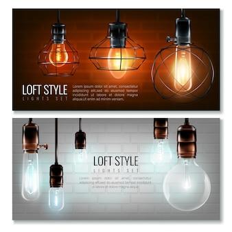 Conjunto de banner horizontal de lâmpadas de incandescência