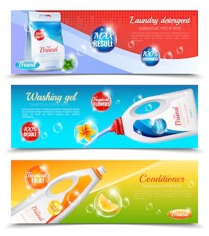 Conjunto de banner horizontal de roupas detergentes