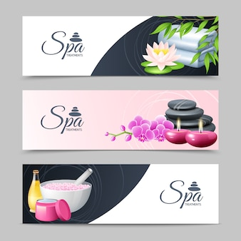 Conjunto de banner horizontal de tratamento e bem-estar de spa