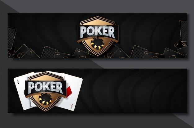 Conjunto de banner horizontal do cassino de pôquer