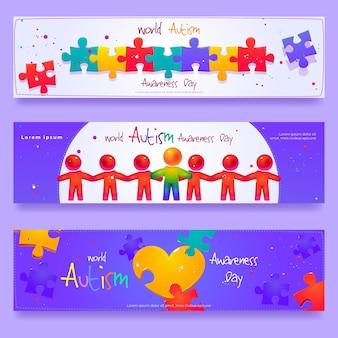 Conjunto de banner horizontal do dia mundial da conscientização do autismo dos desenhos animados