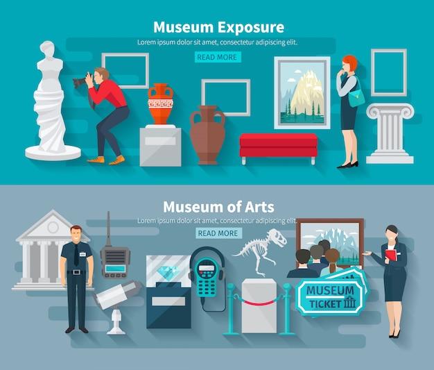 Conjunto de banner horizontal do museu de artes e paleontologia