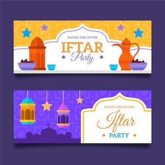 Conjunto de banner horizontal iftar plano