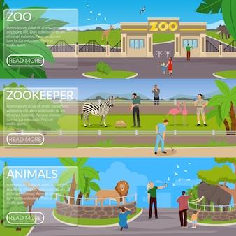 Conjunto de banner horizontal plana de zoológico