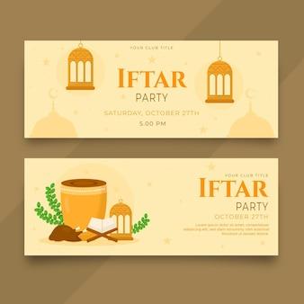 Conjunto de banner iftar plano