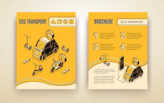 Conjunto de banner isométrica de transporte ecológico