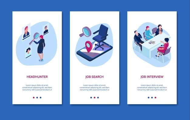 Conjunto de banner isométrico de agência de recrutamento