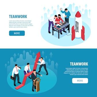 Conjunto de banner isométrico de trabalho em equipe
