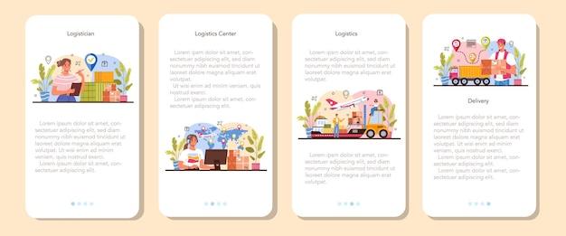 Conjunto de banner logístico de aplicativo móvel. ideia de transporte e distribuição