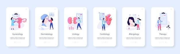 Conjunto de banner móvel de especialidades médicas. cardiologia e ginecologia