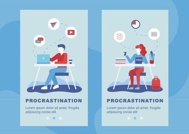 Conjunto de banner móvel de procrastinação e excesso de trabalho