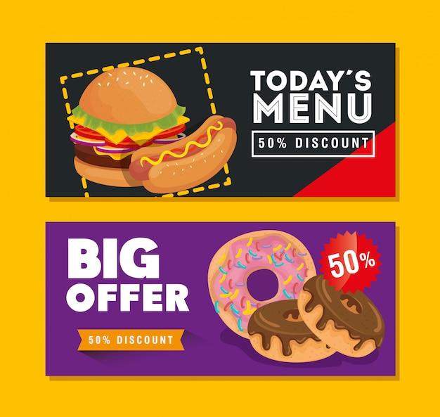 Conjunto de banner oferecer deliciosa comida rápida