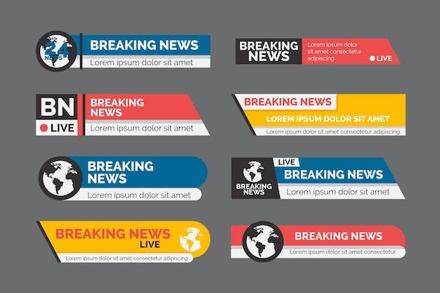 Conjunto de banner oficial de notícias de última hora