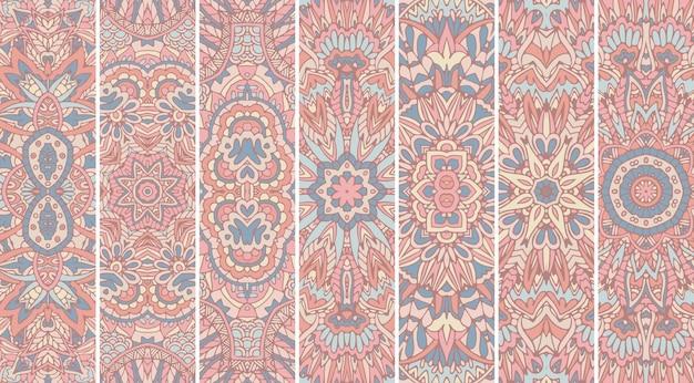 Conjunto de banner ornamental tribal vintage abstrato geométrico étnico sem costura padrão