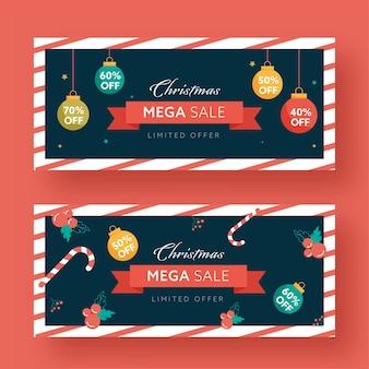 Conjunto de banner ou cabeçalho de mega venda de natal