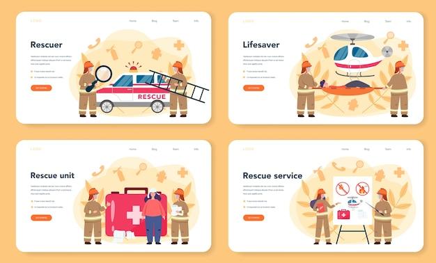 Conjunto de banner ou página de destino da ajuda do socorrista de urgência