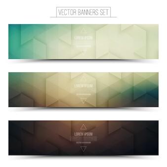 Conjunto de banner panorâmica 3d abstrata tecnologia