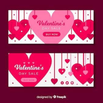 Conjunto de banner pendurado corações valentine venda