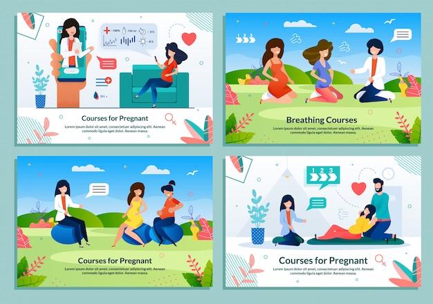Conjunto de banner plana de anúncio que oferece cursos para grávidas