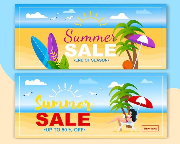 Conjunto de banner plana de cabeçalho de vendas verão convidar para comprar.