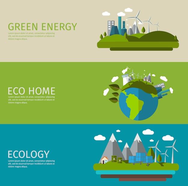 Conjunto de banner plana de ecologia