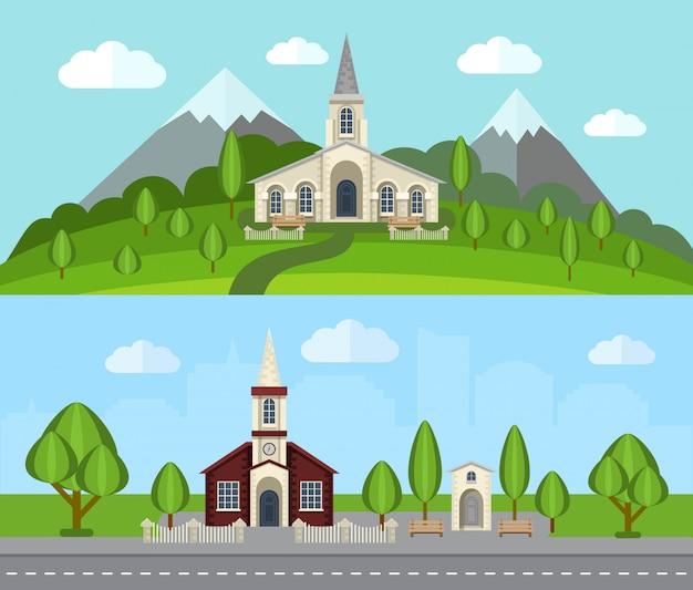 Conjunto de banner plana de igreja