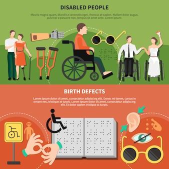 Conjunto de banner plana de pessoa com deficiência