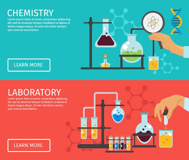 Conjunto de banner plana de professor de química