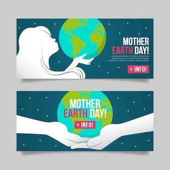 Conjunto de banner plana dia da mãe terra