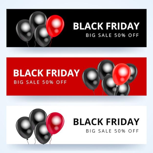 Conjunto de banner preto venda sexta-feira