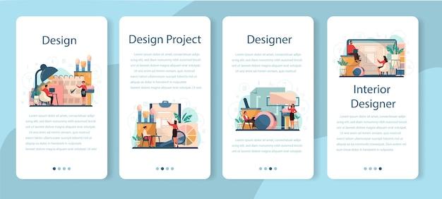 Conjunto de banner profissional de aplicativos móveis de interior. decorador planejando o ambiente, escolhendo a cor das paredes e o estilo dos móveis. renovação de casas.