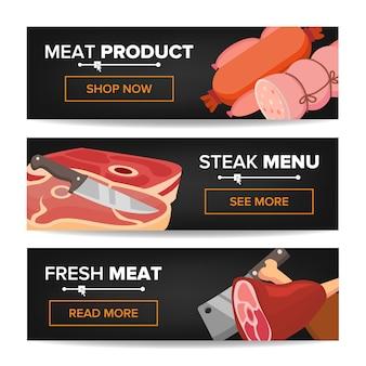 Conjunto de banner promocional horizontal de produtos de carne