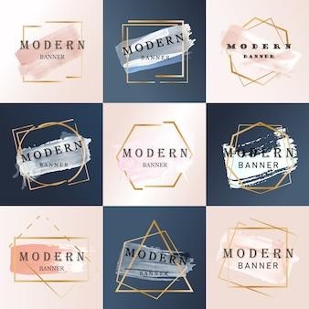Conjunto de banner promocional moderno abstrato