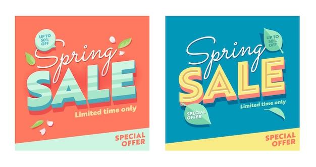 Conjunto de banner quadrado abstrato de venda de primavera