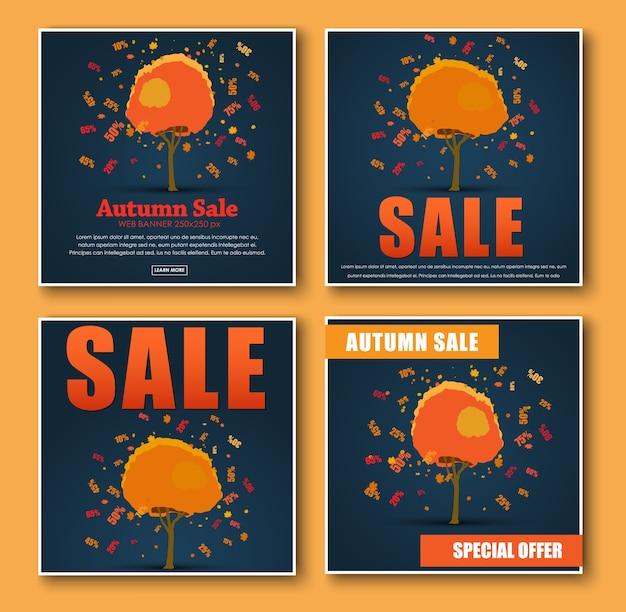 Conjunto de banner quadrado para venda de outono