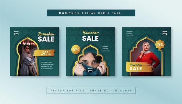 Conjunto de banner quadrado simples com tema de moda ramadan para instagram, facebook, carrosséis.